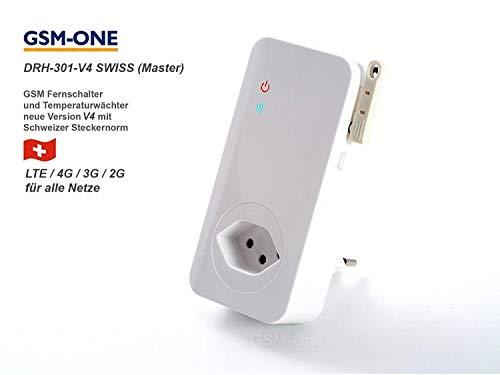 GSM Fernschalter und Temperaturwächter mit Schweizer Stecker, DRH-301-V4-SWISS LTE Version (4G/3G/2G) alle Netze