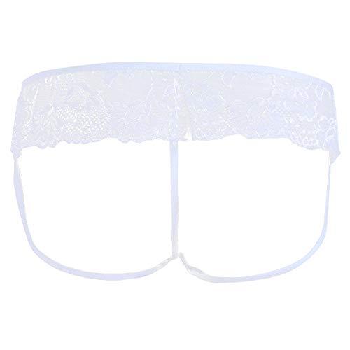 QJHDO Ropa De Dormir para Mujer Lencería Sexy para Hombre Bragas Bikini De Encaje Ropa Interior Calzoncillos Calzoncillos Transparentes Bulge Pouch String Homme Underwear-White_M