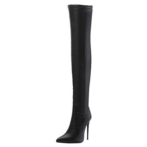 Etebella Damen Stretch Overknee Stiefel Stiletto High Heels Spitz Thigh Boots Elegante Zipper Schuhe (Schwarz 1,42)