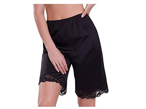 Pantalones cortos de encaje para mujer, pantalones cortos para dormir, pantalones cortos, transpirables, ropa de dormir para el hogar (color: negro medio, tamaño: M)