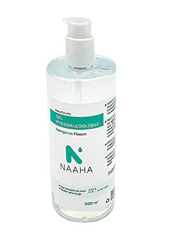 NAAHA Gel Hydroalcoolique pour la désinfection des mains - Fabrication Française - 500ml avec pompe doseuse