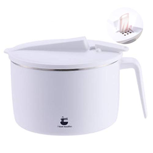 Stainless Steel Soup Bowl With Lid Large Instant Noodle Bowl Single Student Rice Bowl Tableware Bowl Large Capacity And Easy To Clean (Color : White, Size : 14.512cm)