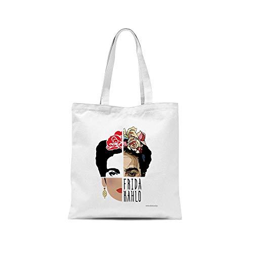 All sas - Bolsa de la compra Frida Kahlo 100% tela de algodón estampada fabricada en Italia