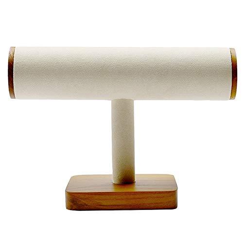 Cobeky Expositor de joyas de madera tipo T para collar, pulsera y exhibición con soporte para joyas, color blanco crema