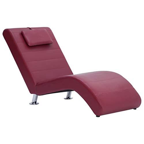 UnfadeMemory Chaiselongue Relaxliege mit Kissen Kunstleder Relaxsessel Liege zum Entspannen Wohnzimmer Loungesessel 144 x 59 x 79 cm (Weinrot)