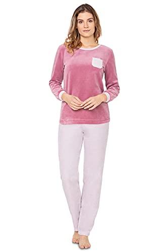 e.FEMME Stella 2278 - Pijama para mujer (80% algodón, 20% poliéster), Diseño de lunares rosa., 46