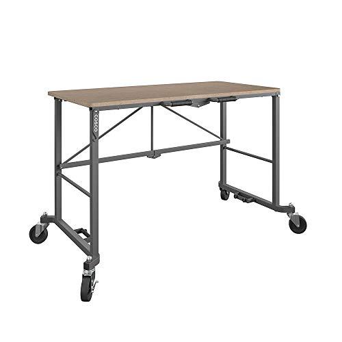 Cosco 66720DKG1E Smartfold Portable Folding MDF Work top (Gray, 350 pounds) Workbench Desk, Tan