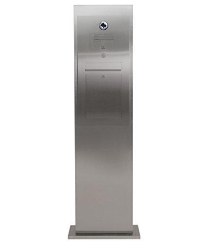 Edelstahl Briefkasten Stele mit Gira Videosprechanlage + Wohnungsstation + Steuergerät - Komplettset