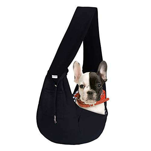 FDJASGY Small Pet Sling Carrier-Hands Free Reversible Pet Papoose Bag Tote Bag with a Pocket Safety Belt Dog Cat for Outdoor Travel Black