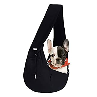 FDJASGY Small Pet Sling Carrier-Hands Free Reversible Pet Papoose Bag Tote Bag with a Pocket Safety Belt Dog Cat for Outdoor Travel Black 18