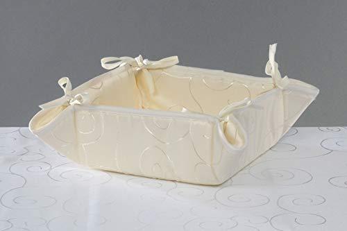 Huis en decoratieve broodmand damast cirkel patroon stof mandje ca. 20 x 20 cm broodmand hoekig kleurkeuze modern 40 x 40 cm champagne