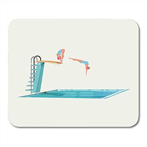 White Swim Blue Pool Sport Frauen stehen auf einem Sprungbrett und bereiten sich auf das Springen und Tauchen vor Buntes, tiefes, langlebiges, komfortables, rutschfestes Gaming-Pad 22x18 cm