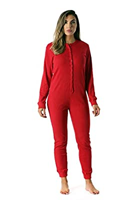 #followme Women's Thermal Henley Onesie Union Suit 6743-RED-XS