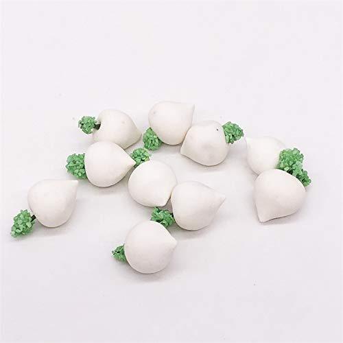 YOPDNE Muebles Mini Cocina Set de Comida Decoración Gran rábano Cabeza Rábano Cabeza Blanca (10 Piezas)