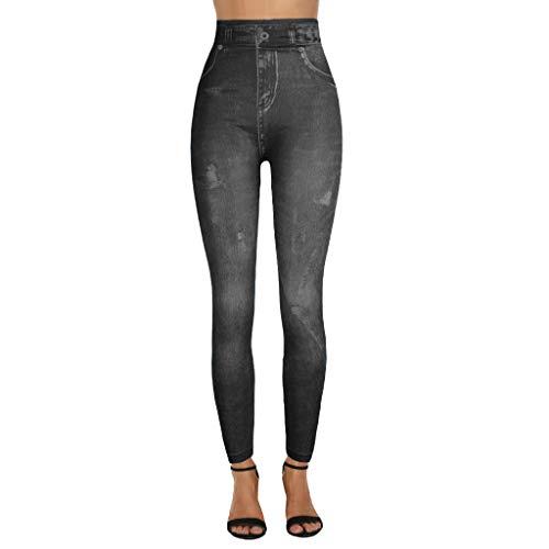 GreatestPAK Damen Drucked Jeans Bottoms Hip Lift Overshoot Slim Cropped Pants Imitation Jeanshose Leggings Hüften Super Elastic Hosen,Schwarz,XXL
