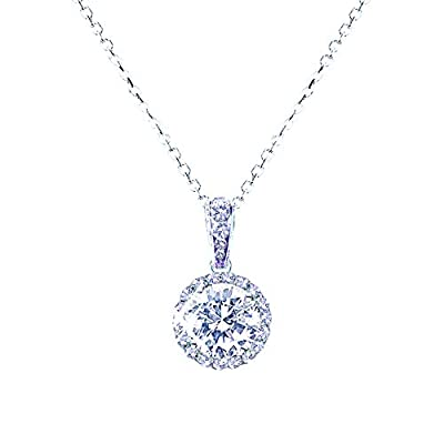 landau Jewelry Women's Necklace – Deluxe Pave Stud – Premium Quality Finish and Stones – Elegant Design – Original Gift for Women, Girls - Round CZ