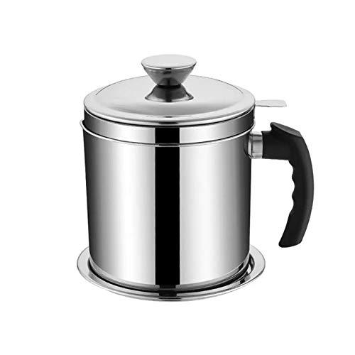 SKXZK Recipiente de Grasa de Tocino con Colador,Lata de Almacenamiento de Aceite para Grasa,para Aceite de Cocina Usado, Aceite para Freír, Almacenamiento de Grasa de Cocina (1.8L)