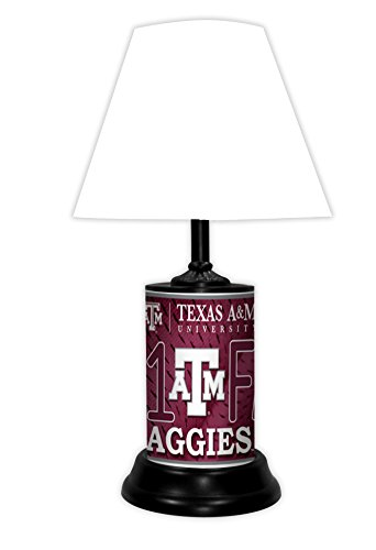 TAGZ SPORTS UNLIMITED Texas A&M Aggies NCAA Desk/Table Lamp with White Shade