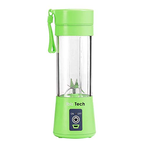 Portable Blender, IBIZ TECH the best tecnology Smoothie Juicer Cup - Six Blades in 3D, 13oz Fruit Mixing Machine with 2000mAh USB Rechargeable Batteries, Ice Tray, Detachable Cup, Perfect Blender for Personal Use (FDA, BPA Free) Green
