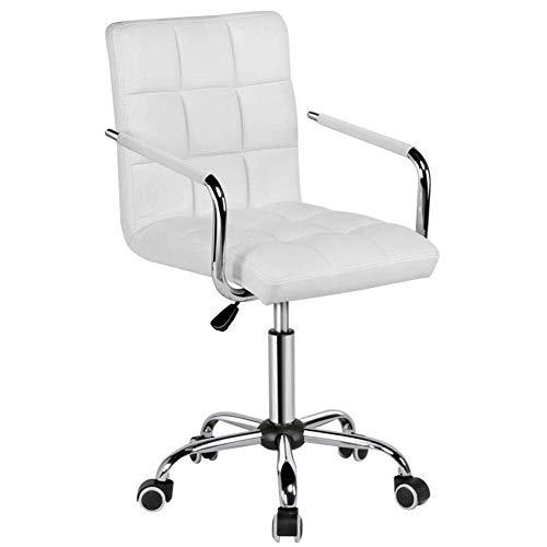 YUXIwang Silla de oficina, silla de oficina, color blanco, con ruedas/brazos, silla de oficina moderna de piel sintética, ajustable, para el hogar, computadora, silla ejecutiva con ruedas