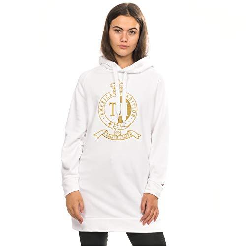 Tommy Hilfiger Damen CANSU Hoodie LS Sweatshirt, Weiß (Classic White 100), Small(Herstellergröße:S)