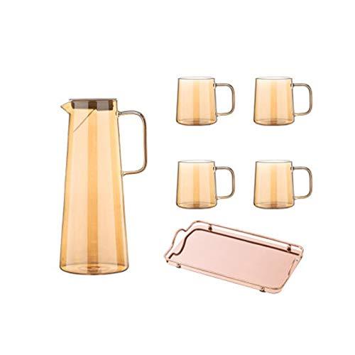 CHUNGEBS Conjunto de 6 jarras de Vidrio y Tazas, Traje de Vidrio con Bandeja, diseño de la Boca de sput sput, para Jugo de café de Hielo Bebida de té,B