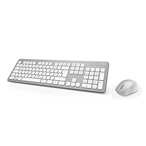 Hama 182676 Funk-Tastatur Maus Set (QWERTZ Tastenlayout, kabellose ergonomische Maus, 2,4GHz, USB-Empfänger) Windows Keyboard Funkmaus-Tastatur-Set, weiß silber