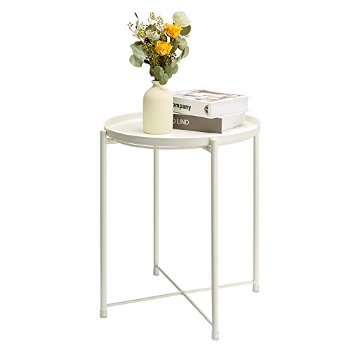 danpinera Side Table Round Metal, Outdoor Side Table Small Sofa End Table Indoor Accent Table Round Metal Coffee Table Waterproof Removable Tray Table Living Room Bedroom Balcony Office Milky White