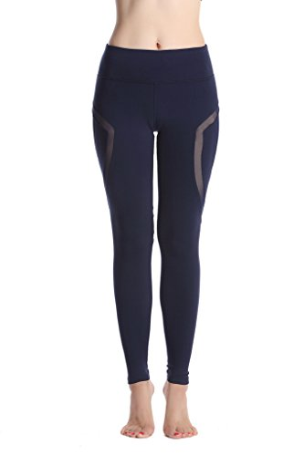Lotus Instyle Frauen Yoga Leggings 9 Laenge Hose Athletische Hose Aktive Leggings mit Mesh Blue-XL