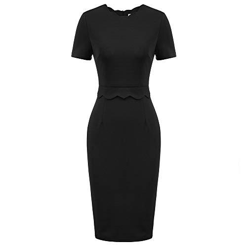 GRACE KARIN Damen Bodycon Kleid Knielang Kleid Elegant Kleid Cocktailkleid 3/4 Rüschenärmel Kleid Schwarz CL011105-1_L