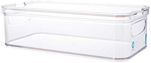 iDesign Caja para nevera o armario de cocina, caja de almacenaje de plástico y apilable, organizador de nevera para queso, fruta, verdura y demás, transparente