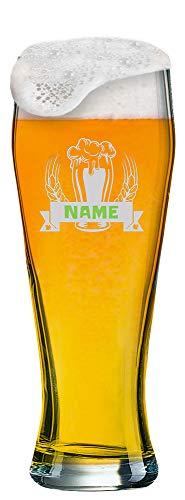 Weizenglas mit Gravur von [Name] + Logo | 0,5 Liter Weißbierglas Bayern mit Motiv (Bier) und einem Namen Ihrer Wahl als Gravur
