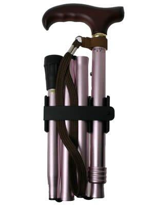 ひまわり アルミ製 4つ折伸縮ステッキ ささえ ピンク V4400