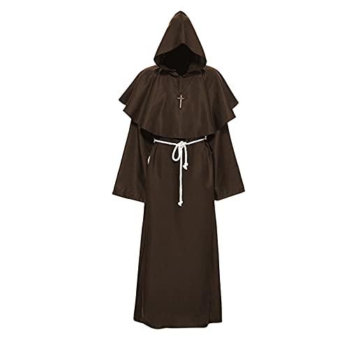 Xisimei Disfraz de monje con capucha medieval del príncipe del servicio de bata del monje renacentista, café, M