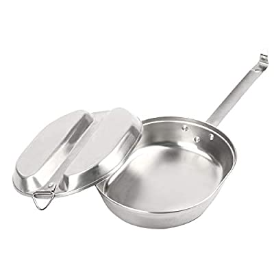 TargetEvo Stainless Steel Military Mess Kit Tray & Frying Pan Portable Camping Cookware Set