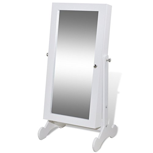 Festnight Wei?er Spiegelschrank mit Schmuckst?nder und LED Licht 30 x 23 x 58,5 cm Schmuckschrank für Schmuck Aufbewahrung
