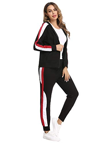 Hawiton Jogginganzug Damen Freizeitanzug Baumwolle Sportanzug Frauen Trainingsanzug mit Streifen Taschen Fitnessanzug für Running Yoga Gym Wandern, Farbe: Schwarz, Gr.L