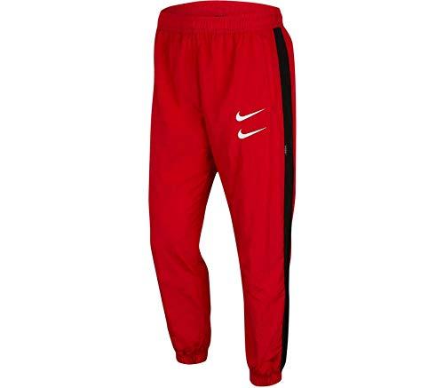 Nike Sportswear Swoosh Woven joggingbroek University rood/zwart/wit