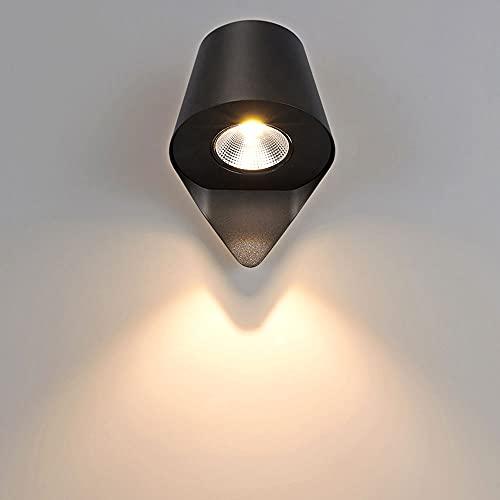 Xungzl Acabado negro LED Cabeza individual Linterna de pared al aire libre, mini decoración impermeable Montaje de pared Luz de montaje de pared, lámpara de metal a prueba de óxido Cuerpo exterior Luz