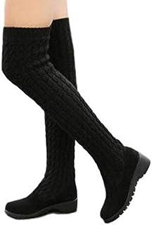 bd79cf48f83 COVOYYAR Women s Autumn Knitted Wedge Heel Knee High Boots Elastic Warm  Winter Shoes