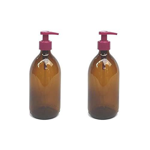 versandfuxx24 - Juego de 2 dispensadores de jabón | Dispensador de loción de 500 ml de cristal marrón.