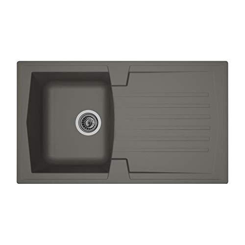100 x 50 cm Stradour EEAL081Q06N Luna Evier /à encastrer Noir PAILLETE-06