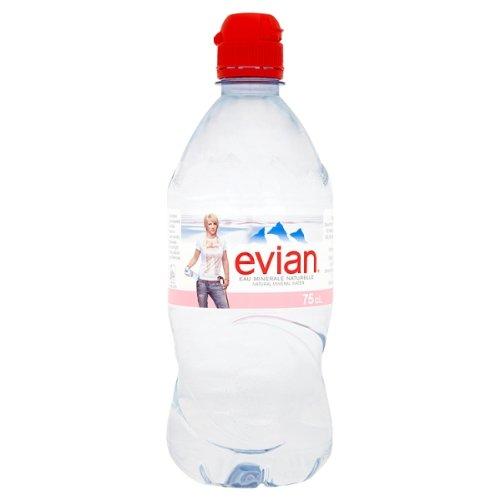 Evian Eau Minérale Naturelle bouchon sport 750ml (Pack de 12 x 75cl)