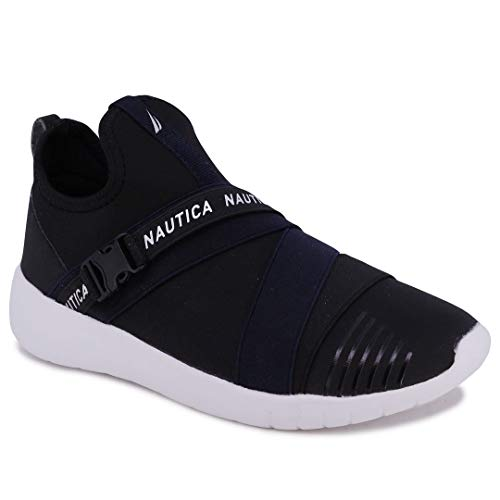 Nautica Women Fashion Slip-On Sneaker Jogger Comfort Running Shoes-Finola-Black-6.5