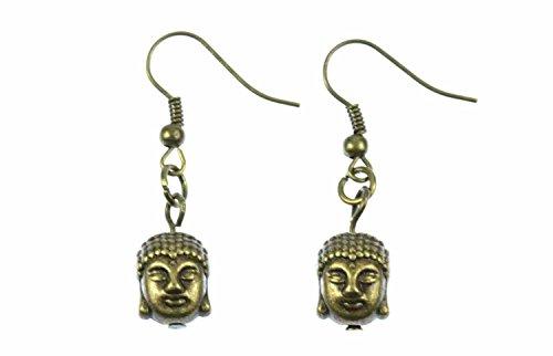 Buddha Ohrringe Miniblings Hänger Buddhakopf Buddhismus Indien Tibet Yoga Bronze