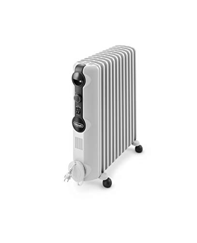 De'Longhi Ölradiator TRRS1225 Radia-S Serie - elektrischer energiesparender Heizkörper mit 12 Rippen für Räume bis 75m³, 3 Heizstufen, Sicherheitsthermostat, Frostschutzfunktion, Raumthermostat, grau