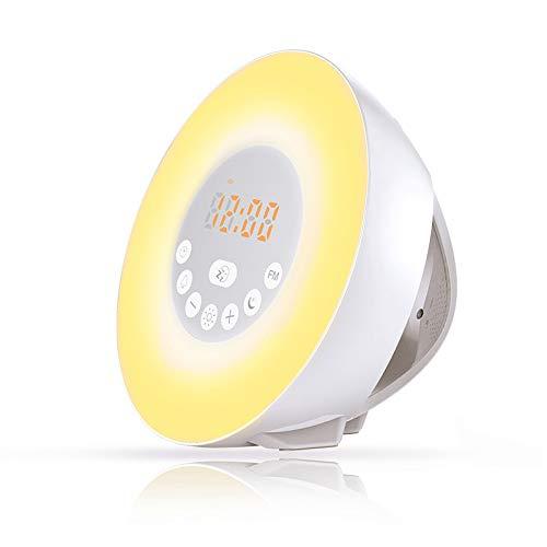 Sunrise Reloj despertador, despertador digital, luz despertador con 6 sonidos naturales, radio FM y control táctil, pantalla LED que cambia de color luz nocturna para niños y personas con sueño pesado