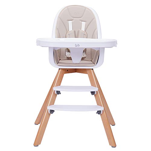 Baby High Chair with Double Removable Tray for Baby/Infants/Toddlers, 3-in-1 Wooden High Chair/Booster/Chair | Grows with Your Child | Adjustable Legs | Easy to Assemble,Cream