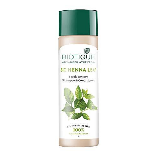 Biotique Bio Henna Leaf Fresh Texture Shampoo & Conditioner 120ml /4.05 Oz. I Increase Gloss, Hydration, Shine I For Rich Dark Tones Hair - All Hair Types