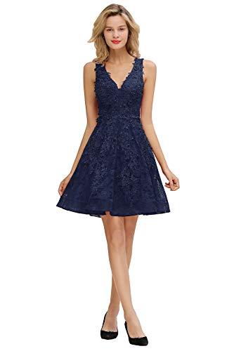 MisShow Damen elegant Abschlusskleider Kurz Spitzen Applikation Cocktailkleider mit Perlenstickerei Knielang Navyblau 34